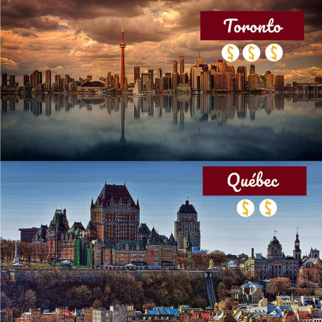 Vues sur la ville de Toronto et de Vancouver